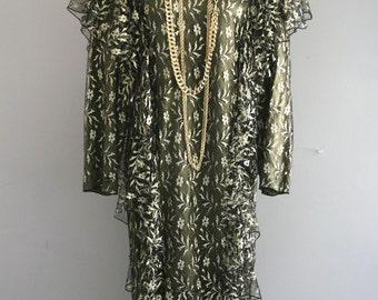 1980s Vintage Dress by Holly Harp - Neiman Marcus - Ruffles - Gold Lame Black and Green Lace Dress - Classic 80s - Iconic - Sheath - 36 Bust