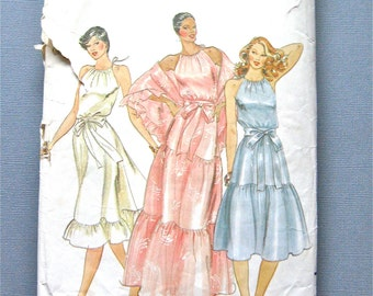 Vintage Butterick 3736  Halter Dress with Shawl Sewing Pattern