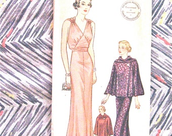 1930s Gown and Evening Wrap Pictorial Printed Pattern 8119  30s Vintage Sewing Dress Cape Evening Gown Hip 41  Bust 38 Hip 41 inhces