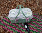 China Mosaic Picnic Basket with Liner, Roses and Romance, Pink and Green
