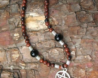 Mahogany Obsidian and PENTACLE Necklace with Toggle Clasp
