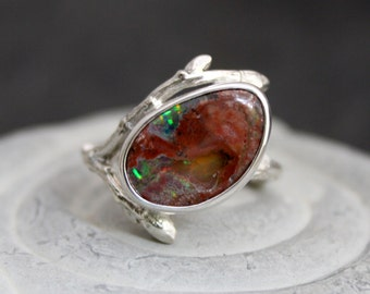Woodland Mexican Fire Opal Simple Pleasures organic tree branch twig ring