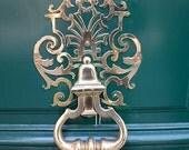 Paris Door Photography, Paris Door Prints, Teal Aqua Green Door Knocker, Paris Doors Wall Art, Parisian Door Knockers, Paris Door Wall Decor