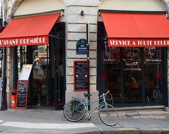 Paris Bicycle Prints, Paris In Red, Paris Red Cafe Bistro, Paris Bicycle Photos, Paris In Red, Paris Red Cafe Awnings, Paris Wall Art Prints