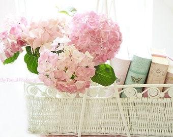 Hydrangea Floral Prints, Shabby Chic Decor, Hydrangea Wall Art, Dreamy Pink Hydrangeas Flowers In Basket, Romantic Floral Wall Art Prints