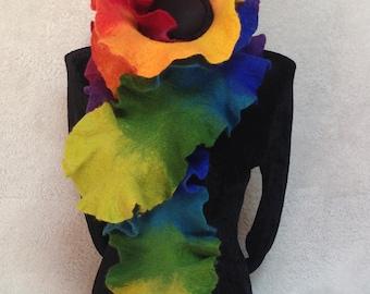 Rainbow felt scarf Ruffle Scarf. Rainbow costume.  Handmade Merino Wool Scarf. Rainbow schal