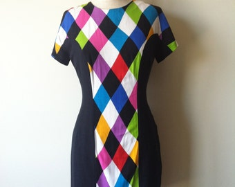 60s Mod Harlequin Mini Shift Dress