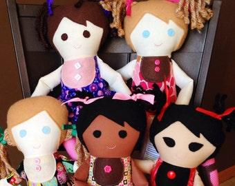 Custom handmade cloth girl doll adoption fundraiser