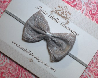 Silver Lace Headband, Baby Headband, Gray Satin Hair Bow, Baby Hair Bow, Toddler Headband, Baby  Bows