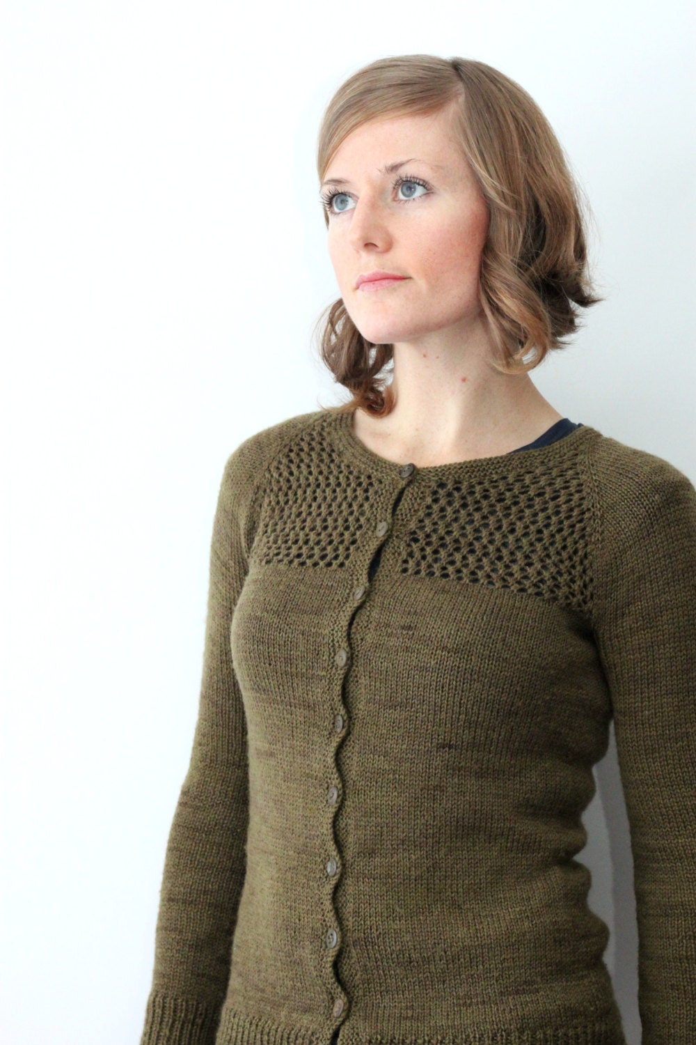 Knitting Pattern Sweater Lace : KNITTING PATTERN // Grace cardigan // top-down sock yarn lace