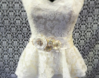 Ivory Lace Peplum Wedding Gown Top Bridal Separates Size 10 Large