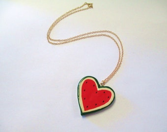 Vintage Watermelon Heart Fruit Necklace DEADSTOCK