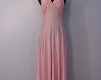 Ballet pink disco gown 1970s long party dress