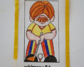 Needlepoint Canvas Golfer Red Head Whimsical Art Canvas Craft Project Orange Yellow Blue