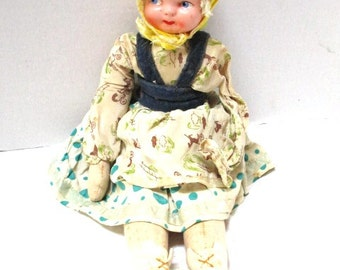 Vintage Bavarian Dutch Girl Cloth Doll,1950s, Sweet Face Blonde Hair, Head Scarf, Cotton Body and Clothes, Jointed Legs, Ethnic Folk Doll,