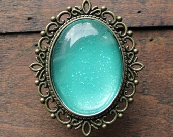 Oval Glitter Drawer Knobs Turquoise with SILVER or BRASS Hardware (MK142 #6)