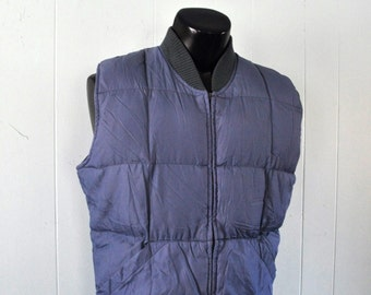 Vintage Vest by REI Ski Puffy Winter Muted Steel Blue gray Grey Mens LARGE