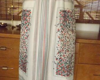 Vintage 70s Mint Near Sheer Confetti and Stripes Border Print Midi Skirt L Free Shipping