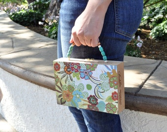 Sale, Floral Print Handbag, Tropical Purse, Up-Cycled, Cigar Box Purse, Hawaiian purse, turquoise, orange, island resort fashion