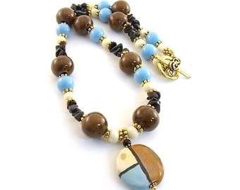 Brown Cream and Blue Necklace - Kazuri Necklace - Gold Plated Necklace - Window Necklace - Beaded Necklace - Chunky Necklace - Statement