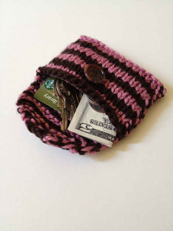 Pink And Brown Striped Hand Knitted And Fabric Lined Mini Purse/Wallet/Business And Credit Card Holder