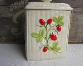 Vintage Strawberry Basket Weave Ceramic Canister Otagiri Japan