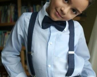 Navy and sky blue / cornflower banker shirt Ring Bearer special occasion wedding linen boy set