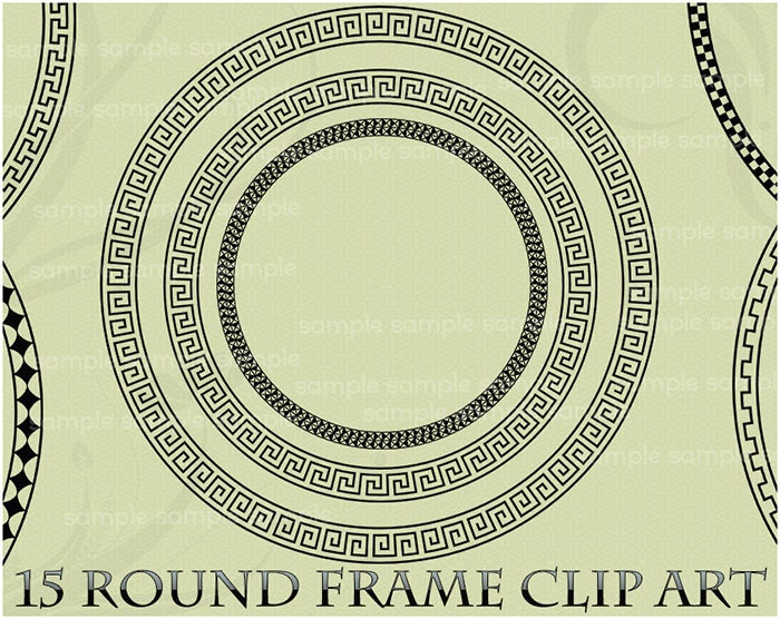 Round Frame Clipart Clip Art Greek Key Circle Label Photo