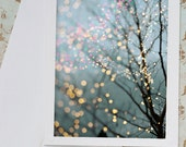 Winter Notecards, Set of Five Greeting Cards, Fairy Lights, Holiday Note Cards