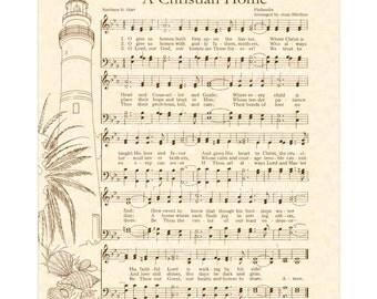 A CHRISTIAN HOME -- 8x10 Antique Hymn Art Print Natural Parchment Sepia Brown Ink Christ Guest Lord Beach Sea Shore Shells Lighthouse Prayer