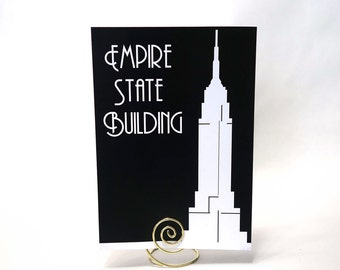 New York City Famous Landmarks Silhouettes Table Cards - White on Black Art Deco Urban Chic