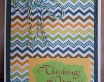 Thinking of You - Handmade Card - Blue Chevron - Bakers Twine - FREE Shipping