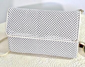 1980's Whiting and Davis Mesh Handbag Vintage Metal Mesh Clutch White Shoulder Bag Purse