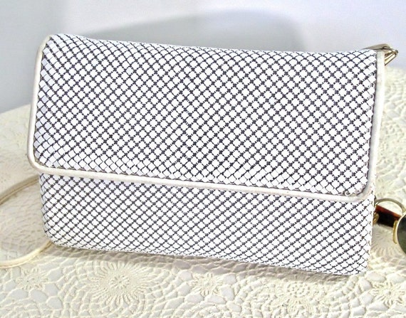 1980's Mesh Handbag Whiting and Davis Mesh Handbag Vintage Metal Mesh Clutch White Shoulder Bag Purse