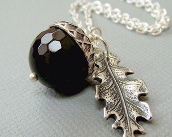 silver and black acorn necklace