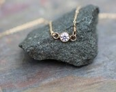 delicate gold necklace, dainty necklace, small tiny, bezel set cz, small diamond, bridesmaids gift, layering necklace, simple small everyday