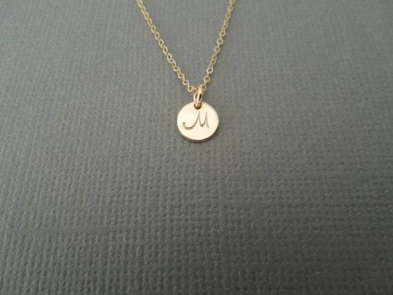 tiny gold initial necklace gold monogram by greygoosegifts on etsy
