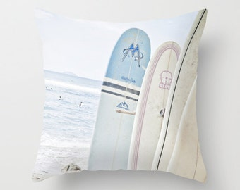 Surfboards on the Beach Throw Pillow Cover 16 x16 Surf Costal Beach Home Decor
