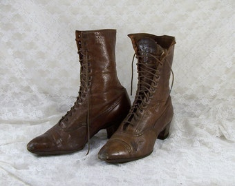 Authentic 1800's Victorian Shoes, Lace Up Granny Boots, Steampunk Shoes, Victorian Nut Brown Leather Boot, Fall Footwear, Halloween Decor