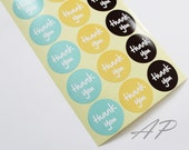 Set of 36pc Thank You Seal Sticker in Aqua, Yellow, Black..2 Sheets in Pack