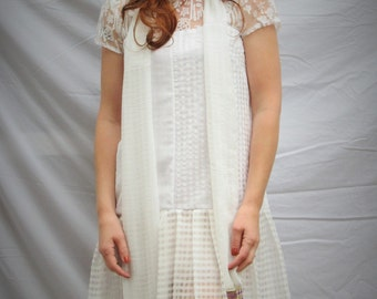 1920s Flapper style old Hollywood look tunic dress , for wedding or party sheer white fabric in different textures, made to order