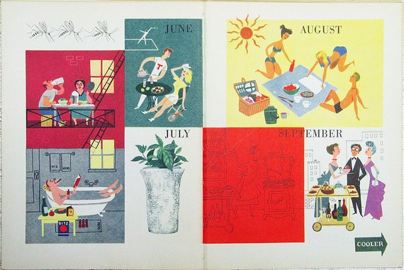 Hot Weather Meals vintage 1949 illustration page Alice and Martin Provensen picnic summer outdoor  - Free U.S. shipping