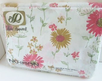 Vintage LADY PEPPERELL Pretty Floral Pattern  - One Double Flat Sheet - New Vintage