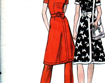 UNCUT Vintage Vogue Pattern 8043  -  Misses' Dress with Fitted Bodice and Pants - Size 16 Bust 38