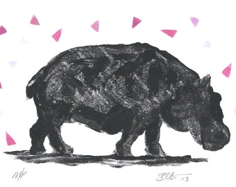 Original Hippo Art in Black and white with pink, lilac and purple triangles, geometric, handmade original ink monoprint.
