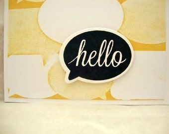 Speech Bubble Hello Card, Thinking of You Card, Blank Note Card, Yellow and Black Note Card