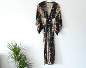 Floral Kimono • Vintage 1970's • Duster Length Robe • Japanese Boho Jacket