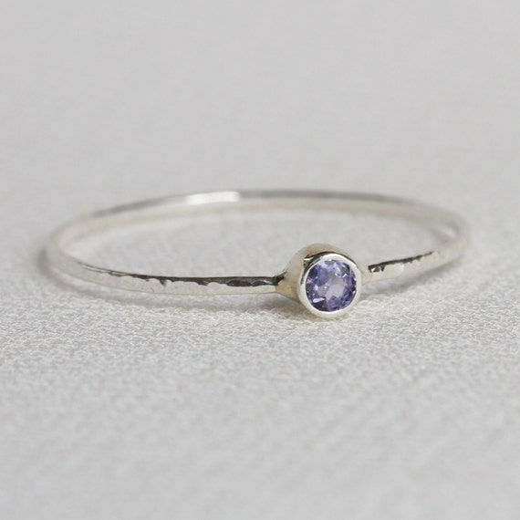 Choose a Stone on a Tiny Thread of Silver - Sterling Silver Skinny Stack Ring - Delicate Jewelry