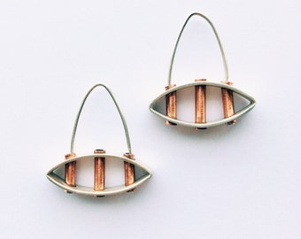 Modern hoop earring- Industrial, Mixed Metal, Copper, Brass, Oxidized Silver Earrings