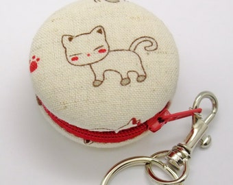 5cm Macaron / jewelry pouch / Key Chain -- Lovely Kitten (a)